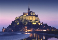 Mont St. Michel Normandy France at night